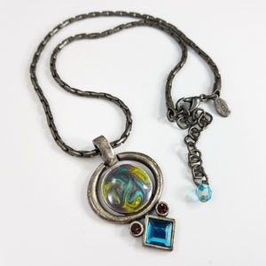 Chico's Pewter Pendant Necklace Blue Teal Purple